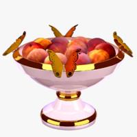 3D vase peaches butterflies