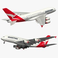 3D airbus qantas airlines model