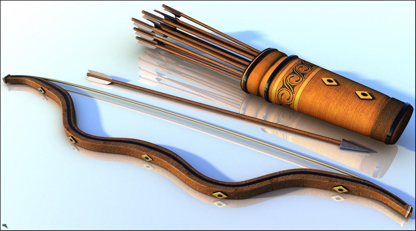 3D medieval arrow bow model