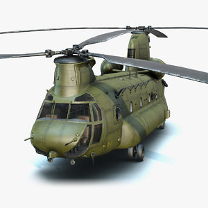 3D low-poly military helicopter ch-47 chinook