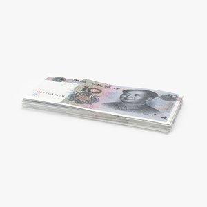 3D 10-yuan-note---pack model