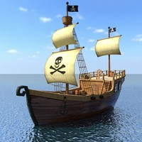 Low Poly Cartoon Pirate Ship