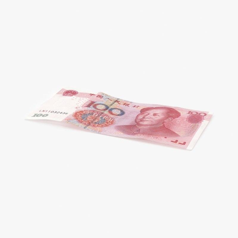 100-yuan-note---single 3D model