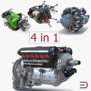 piston aircraft engines 3 3D model