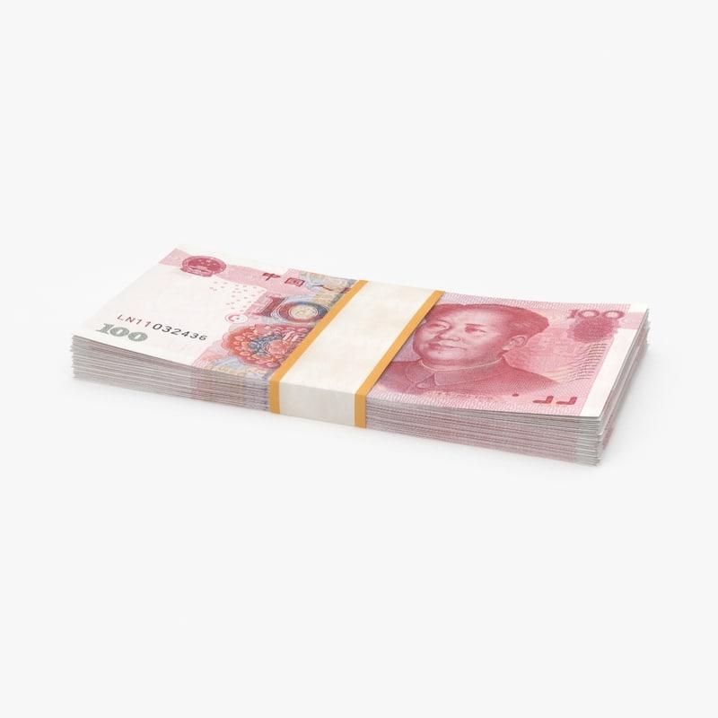 100-yuan-note---stack 3D model