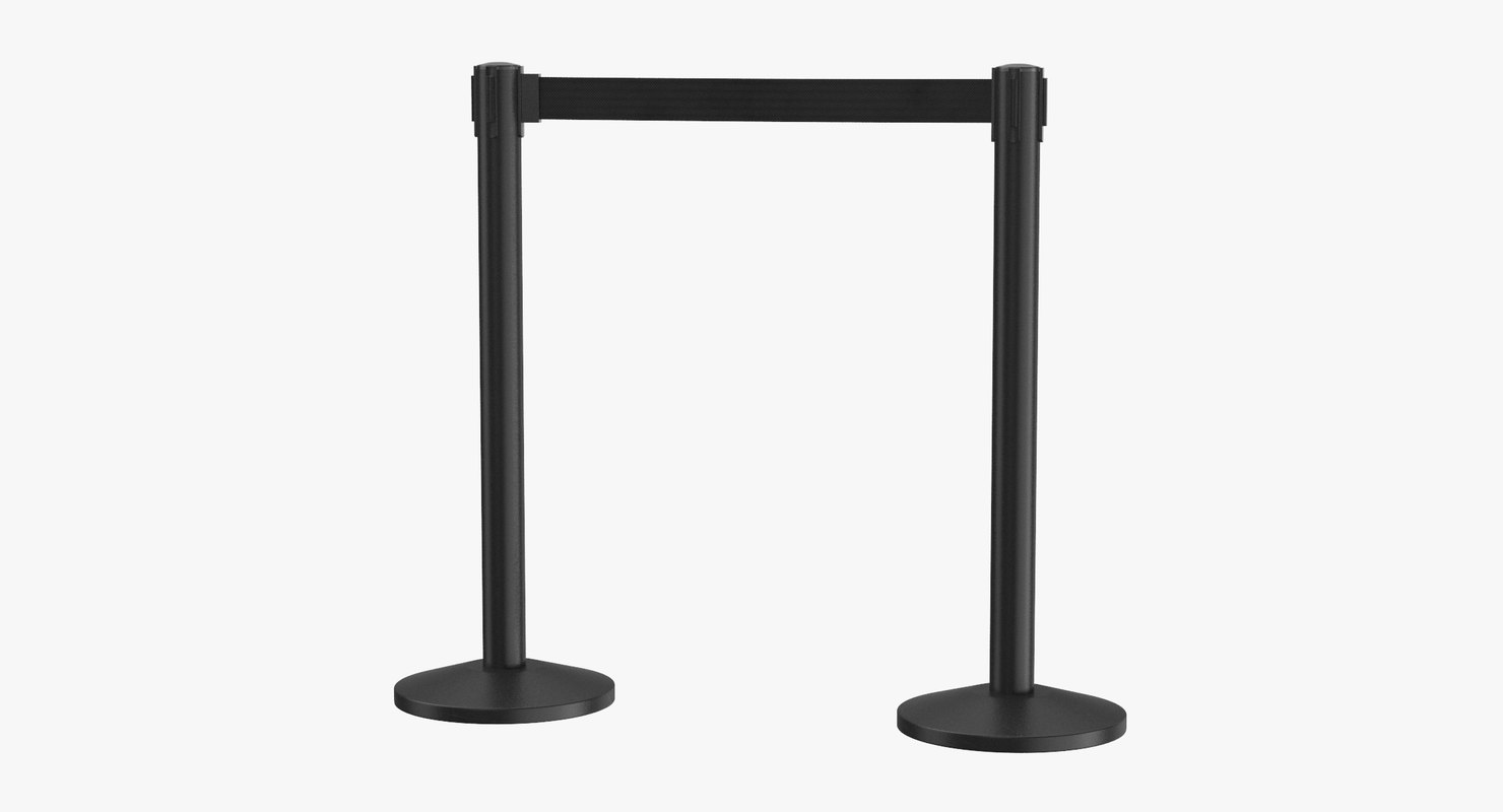 airport stanchions black short 3D model