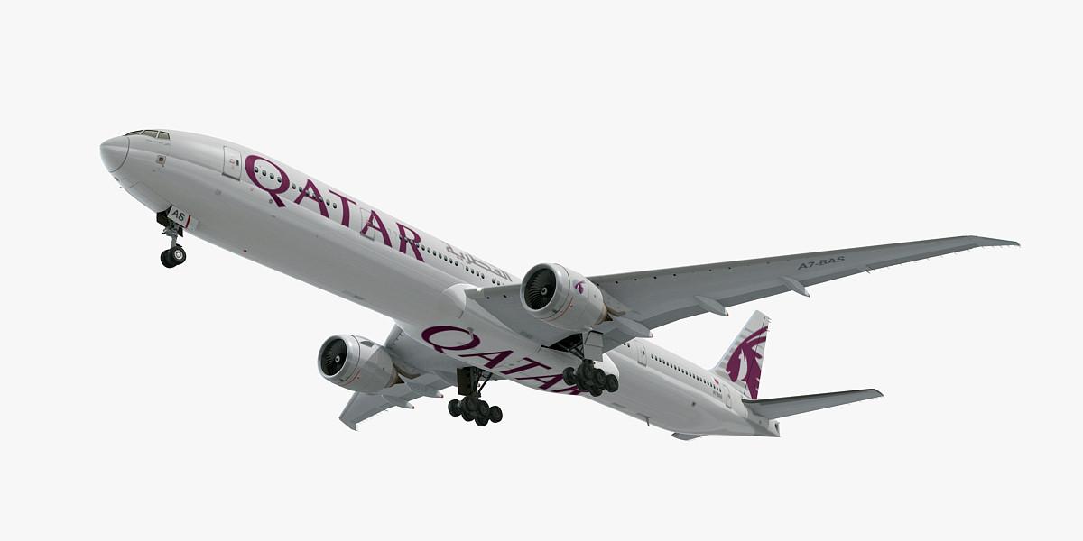 3D boeing 777-300 qatar airways model