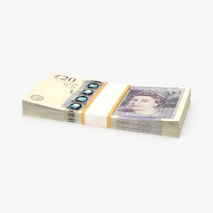 3D model 20-pound-note---stack