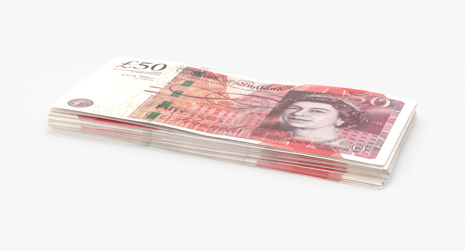 3D model 50-pound-note---pack