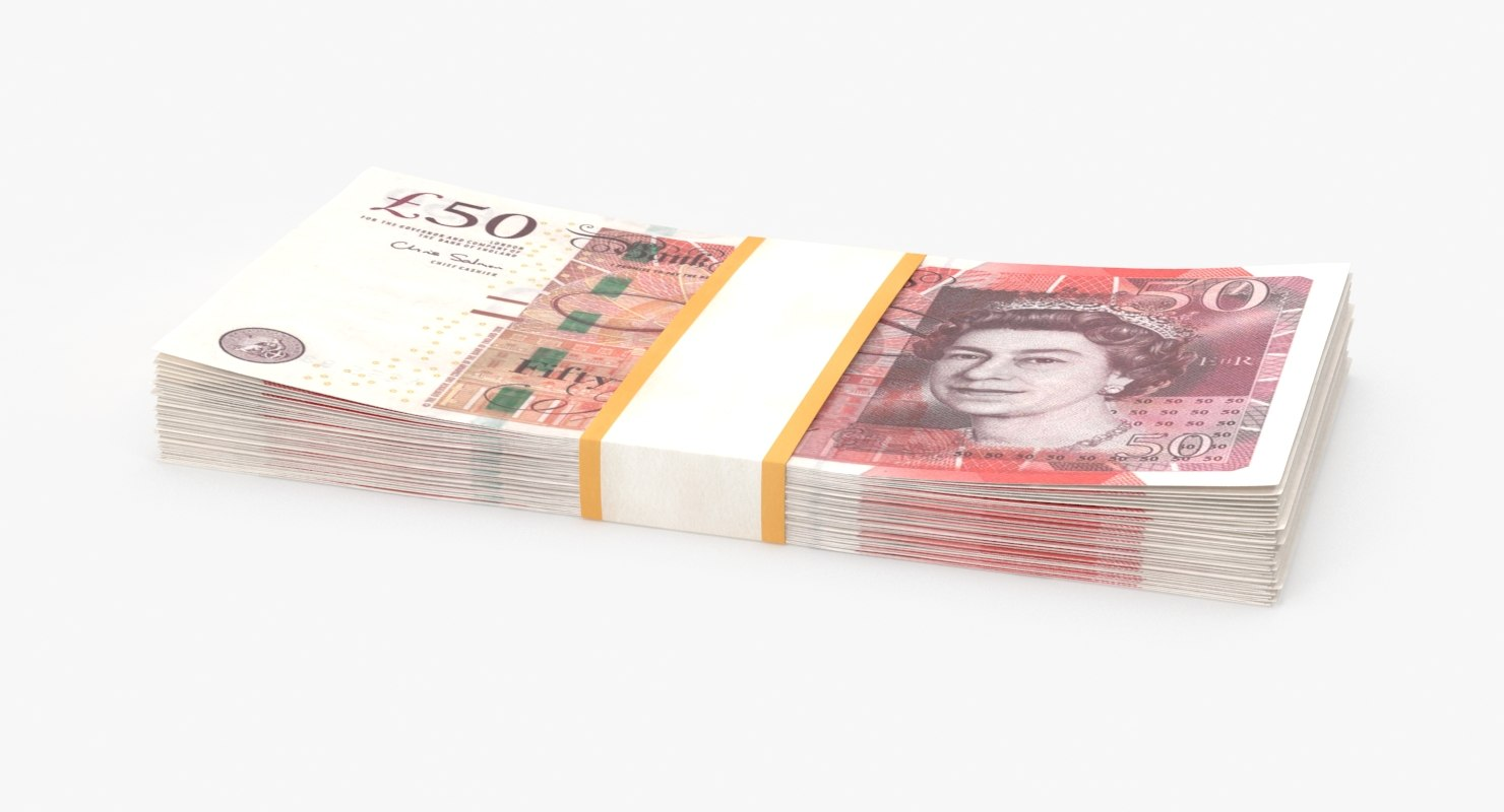3D 50-pound-note---stack model