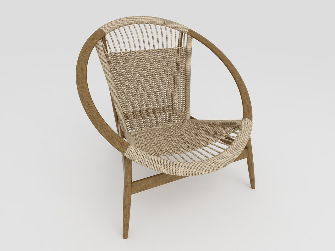 modern rope armchair 3D