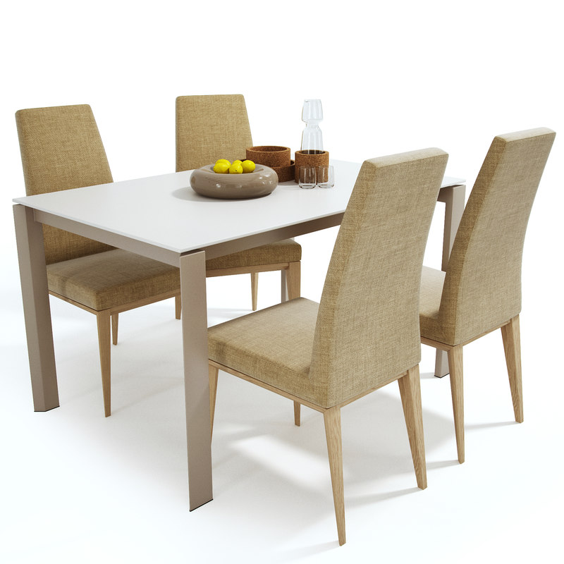 calligaris set table chair 3D model