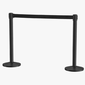 airport stanchions black medium 3D