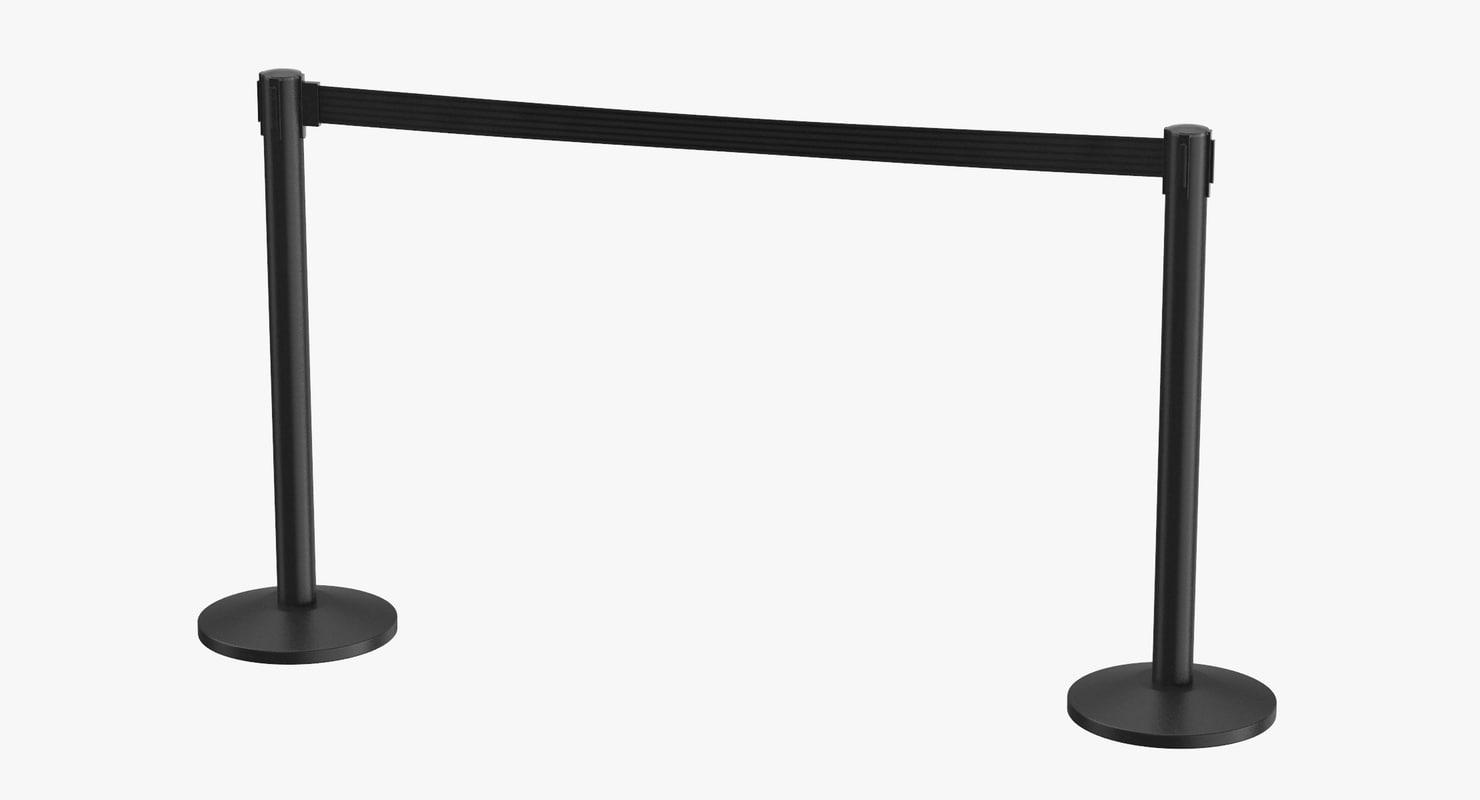 3D airport stanchions black long model