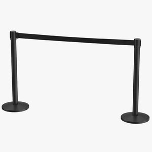 3D airport stanchions black long model