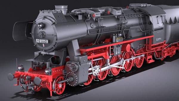 locomotive br-52 steam 3D model