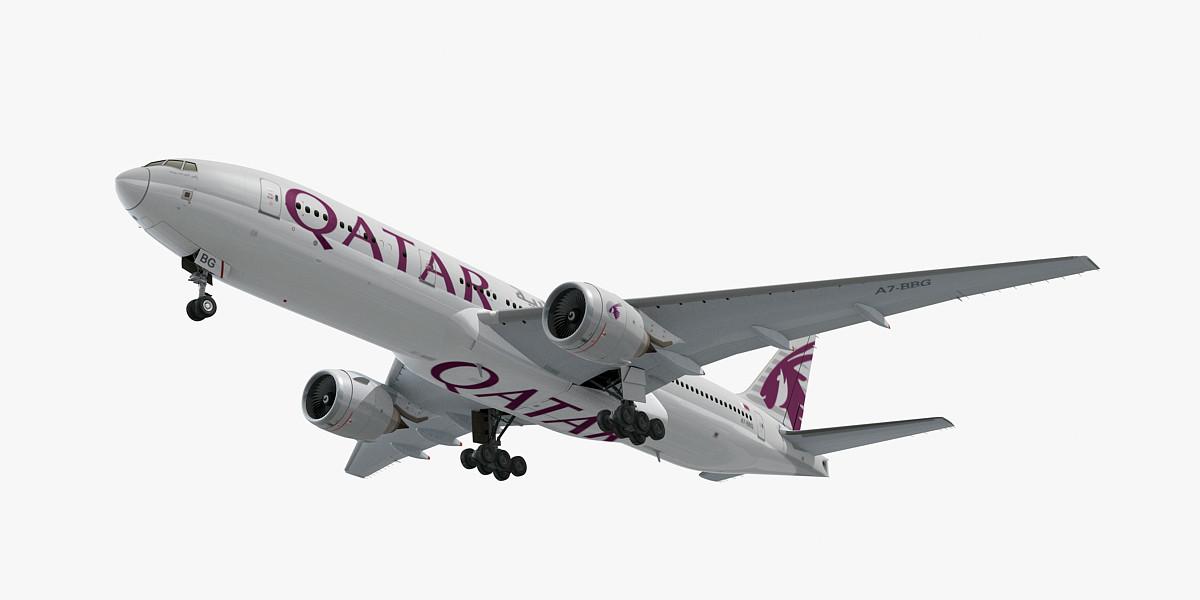 3D boeing 777-200 qatar airways model