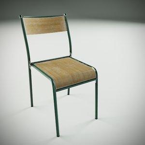 3D school chair vintage