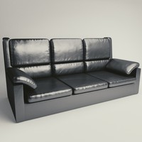 black leather sofa couch 3D model