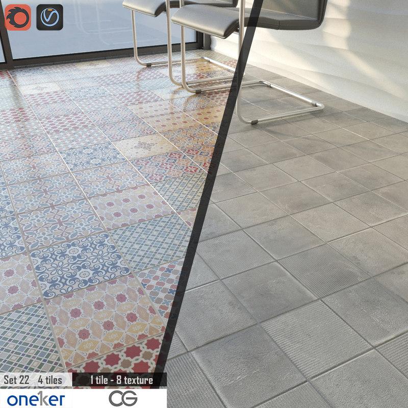 3D tile oneker set 22 model