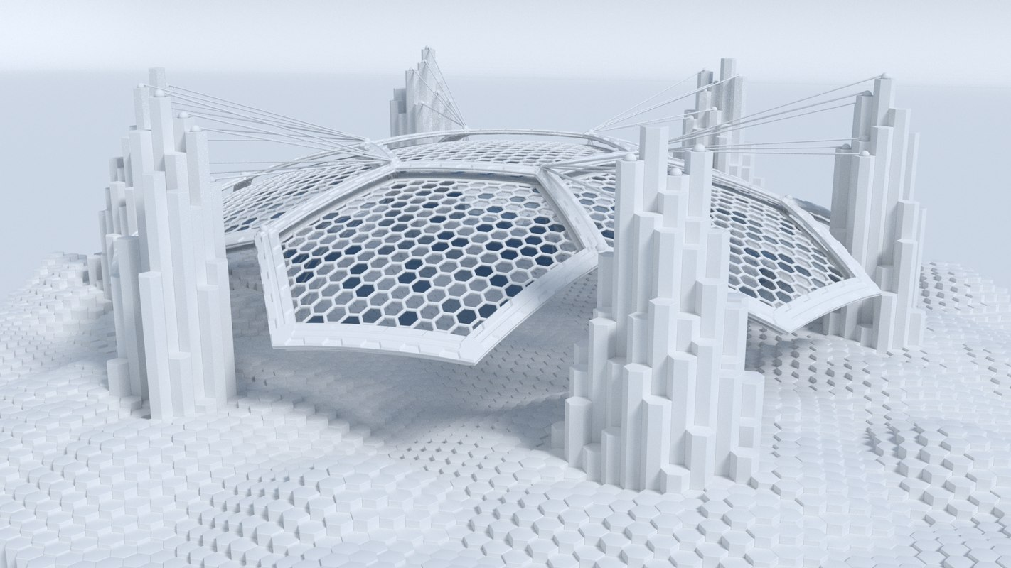 sci fi landscape hexagon 3D model