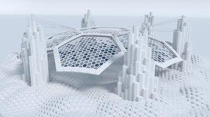 sci fi landscape hexagon 3D model