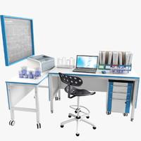 3D laboratory lab workplace