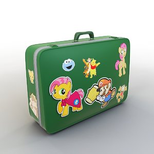 3D cartoon suitcase