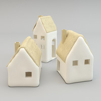 realistic ceramic cottages tealight 3D