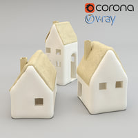 realistic ceramic cottages tealight 3D