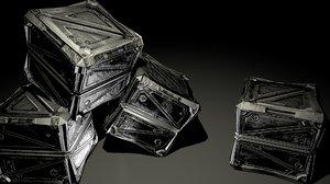 3D asset pbr steampunk crate model