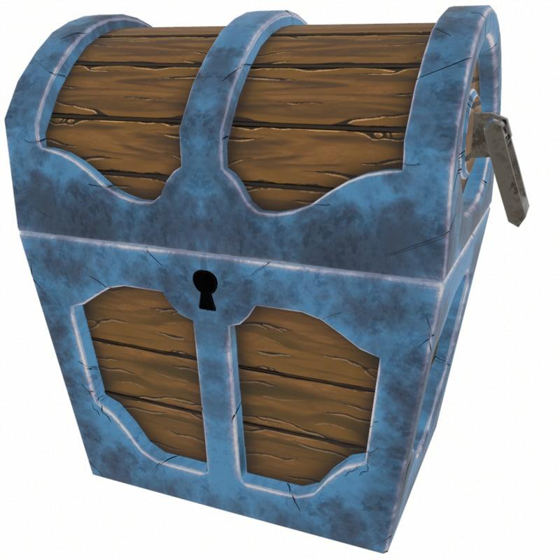 3D stylized treasure chest model