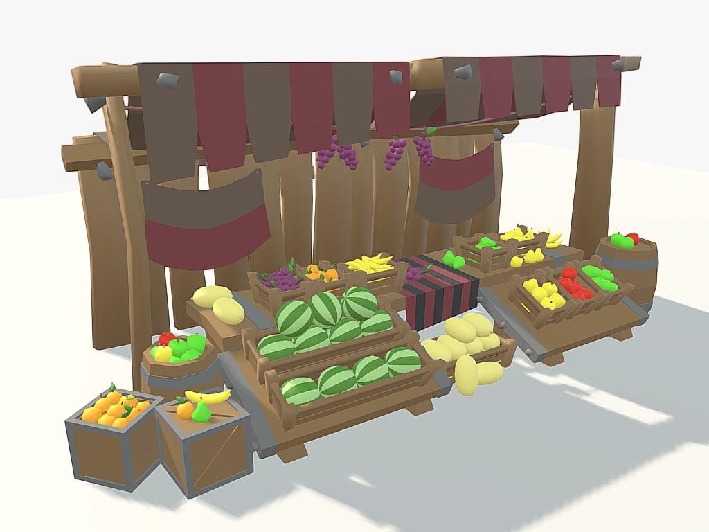 3D model low-poly cartoon fruit stall