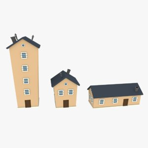 low-poly cartoon houses pack 3D