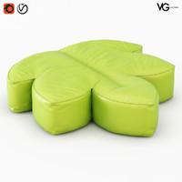 3D pouf aralia model