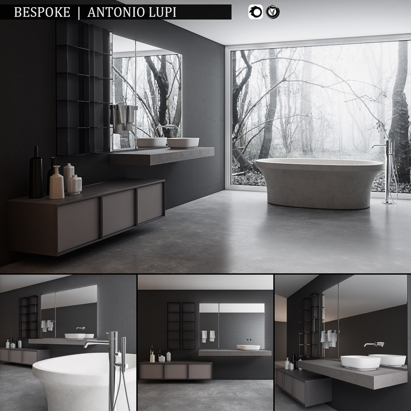 3D bathroom furniture set bespoke model