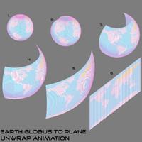 3D model animation earth globus plane