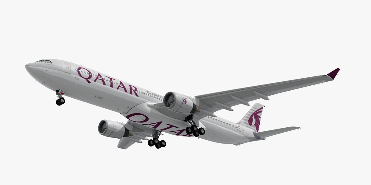 3D airbus a330-300 qatar airways