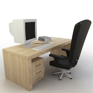 cartoon office desk 3D model