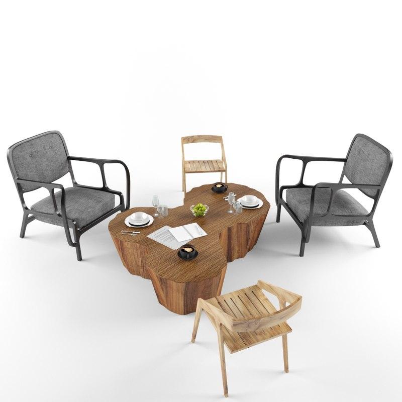 3D set wooden table 2