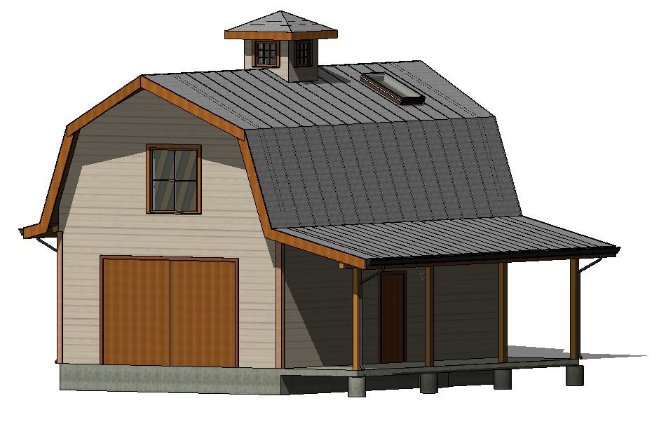 gambrel roof barn 3D