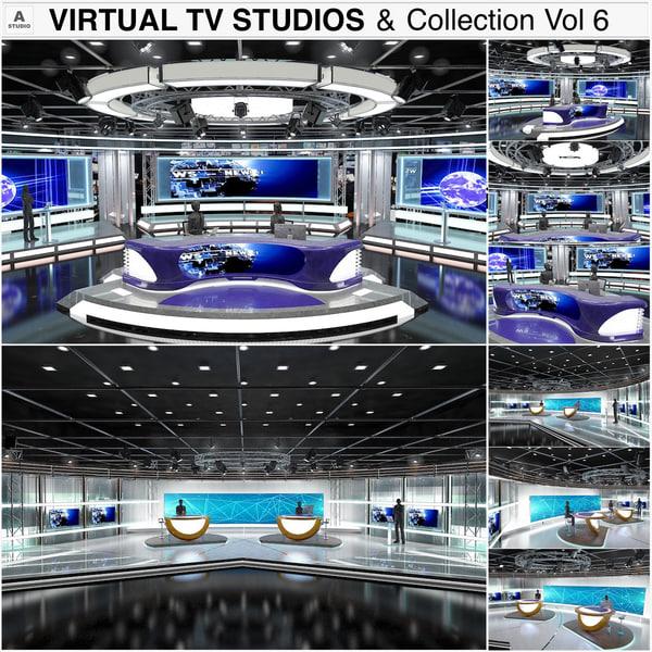 3D model virtual tv studios vol