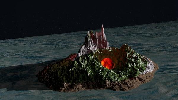3D night landscape
