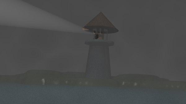 3D light house night