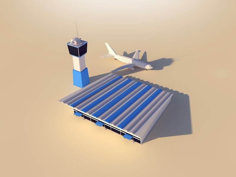 cartoon airport 3D model