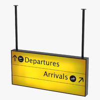 3D model airport departures arrivals sign