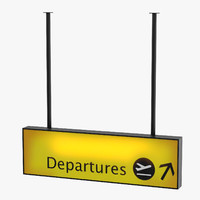 3D airport departures sign