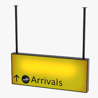 airport arrivals sign 3D