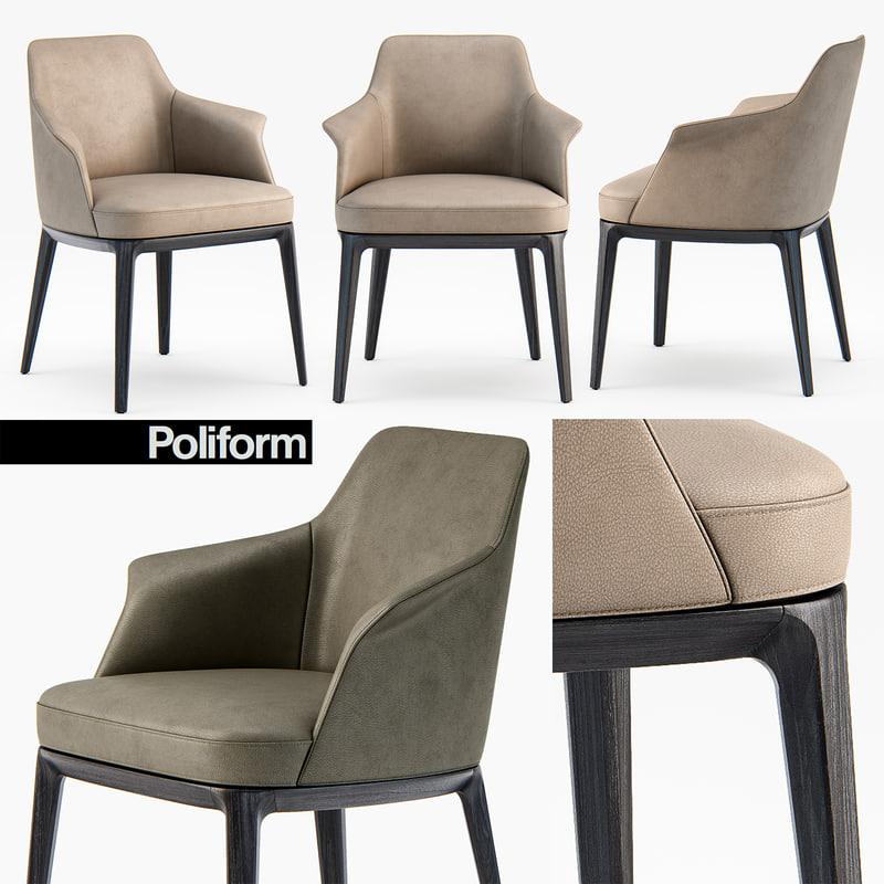poliform sophie armchair dining chair 3D model