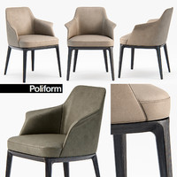 poliform sophie armchair dining chair 3D model